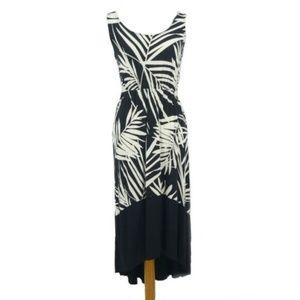 Merona Palm Leaf Hi-Lo Sleeveless Maxi Dress (C11)